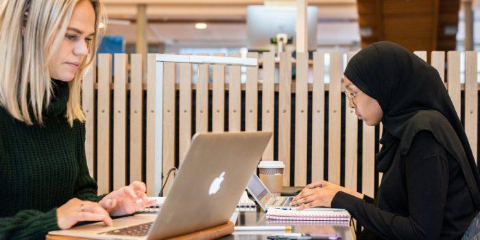 Studenter som studerar vid datorer.