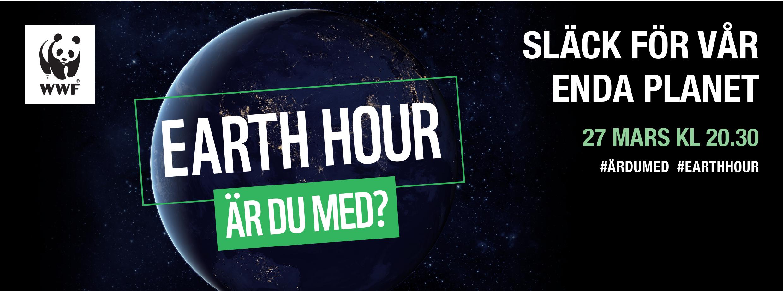 Illustration på en jordglob. Text: Earth hour - Är du med? Släck för vår enda planet. 27 mars kl. 20.30
