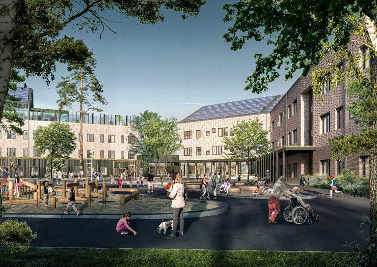 Del av Hemlingborgs innergård med lekplats och umgängesytor.