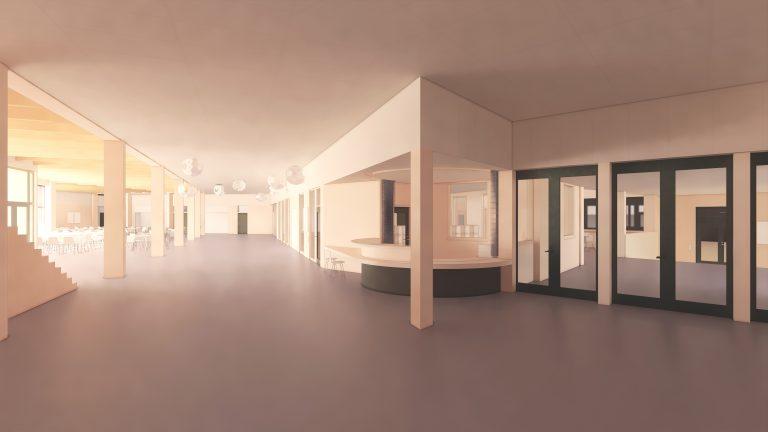 Hemlingborgs receptionsdisk inomhus på bottenplanet.