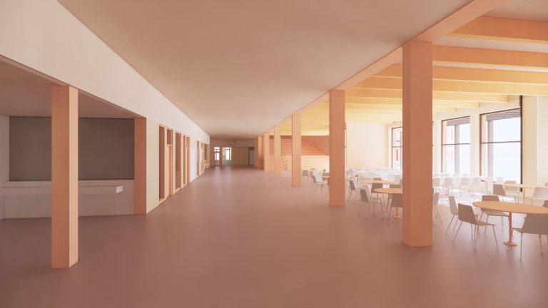 Umgängeslokal inomhus med stora fönster, bord och stolar.