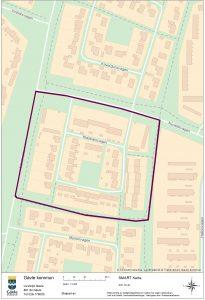 Bilden visar en karta over det område i Sätra som ska inventeras.