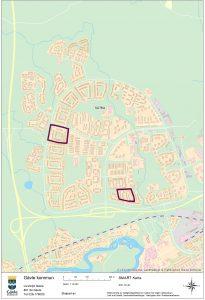Bilden visar en karta över de områden i Sätra som ska inventeras.