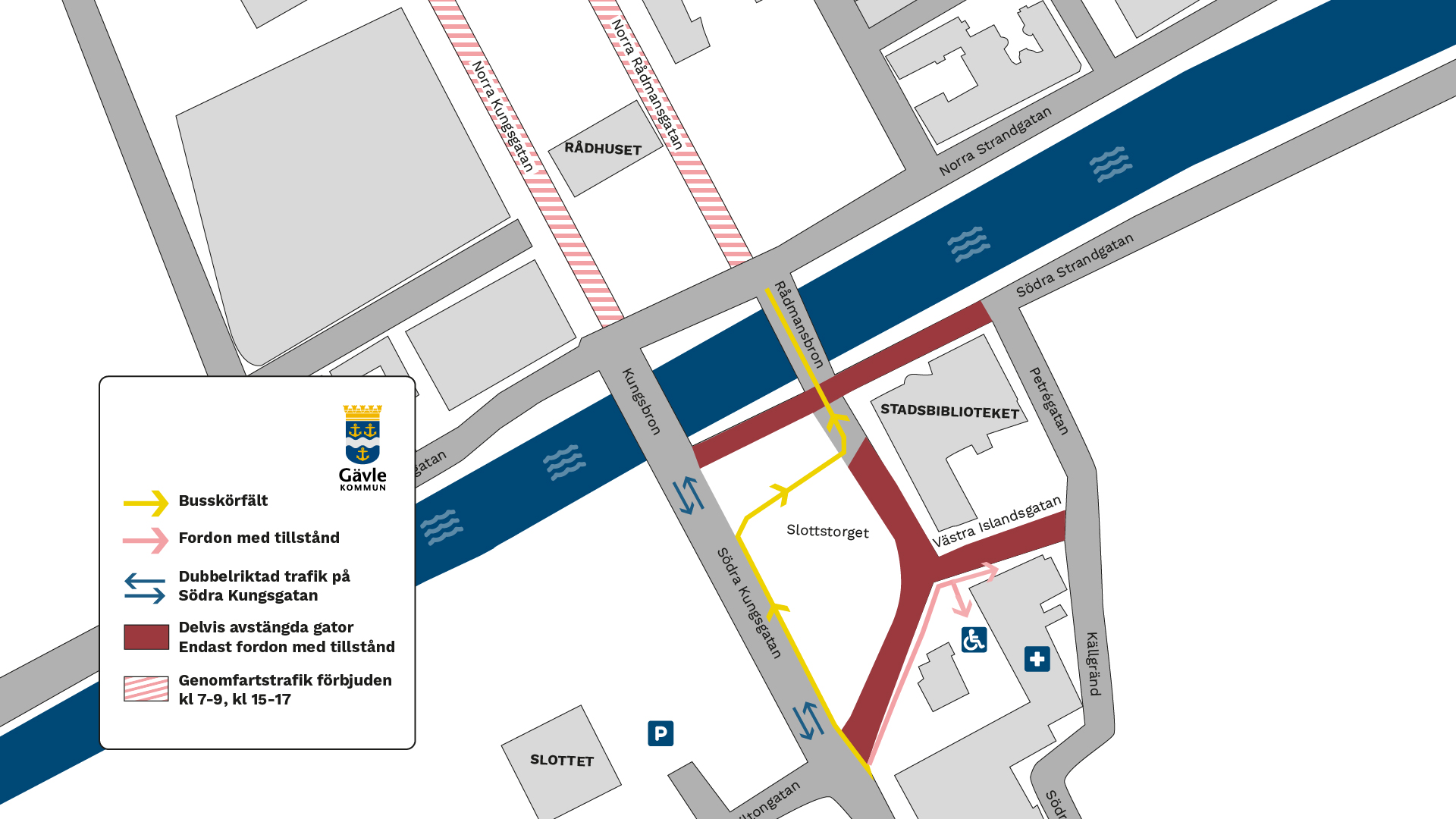 Karta över trafiklösning kultur- och bildningscentrum.
