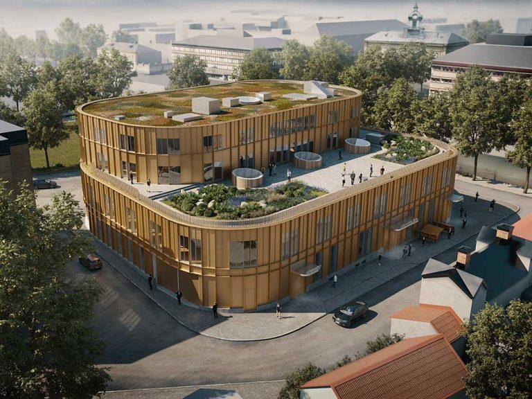 Illustration från bygglovsansökan för det framtida kultur- och bildningscentret, som visar takterrass och fasad mot Gamla Gefle.