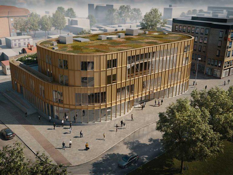 Illustration från bygglovsansökan för det framtida kultur- och bildningscentret, som visar entrén mot Slottstorget med stora glaspartier och gyllene fasad.