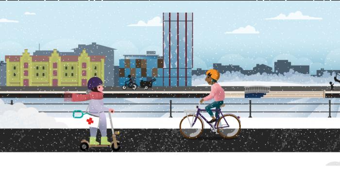 Illustration med människor på olika sorters cyklar längs Gavleån.