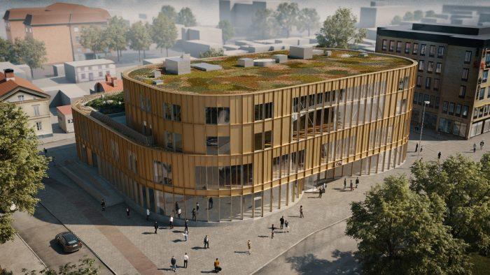 Skiss på nya kultur- och bildningscenter som ska byggas i Gävle