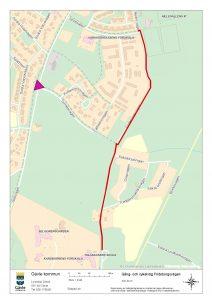 Kartan visar ny gång och cykelväg, Frideborgsvägen