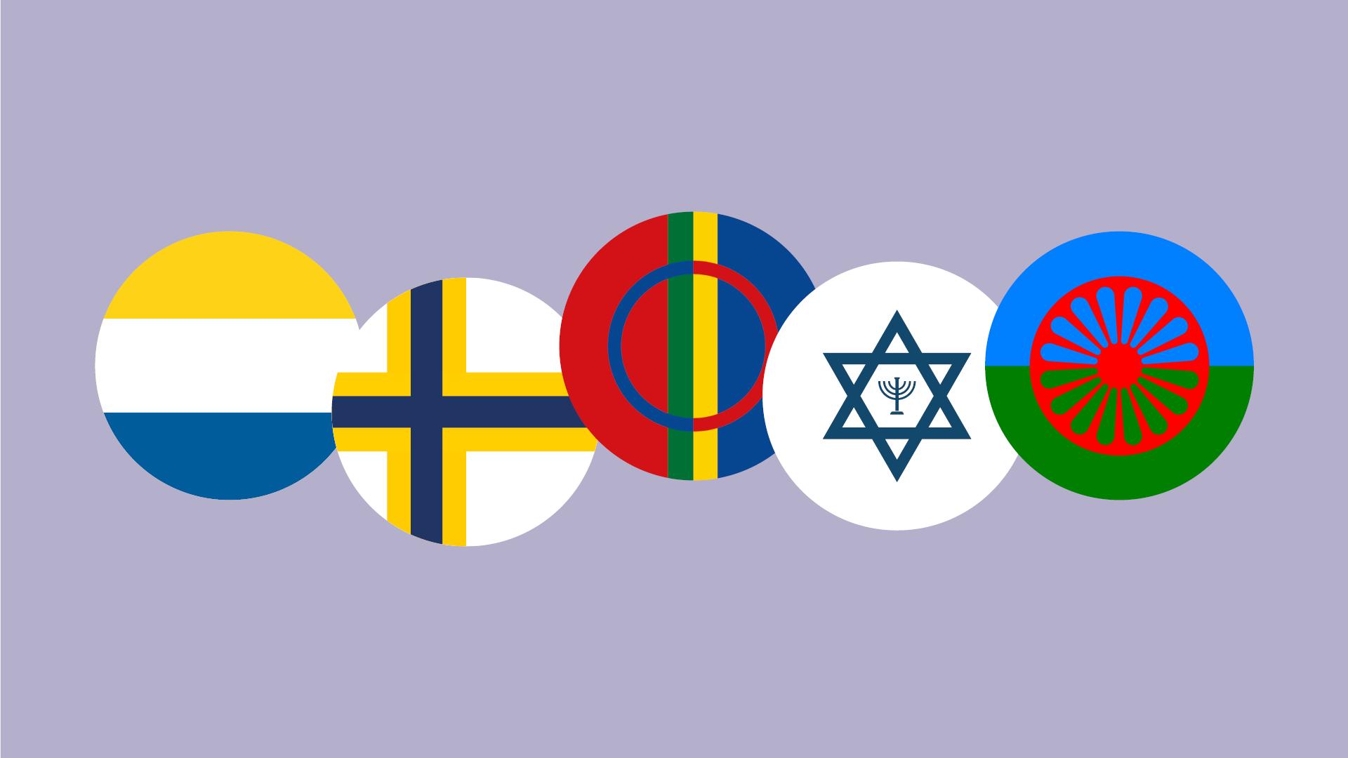 Minoritetsveckan, flaggor i cirklar.