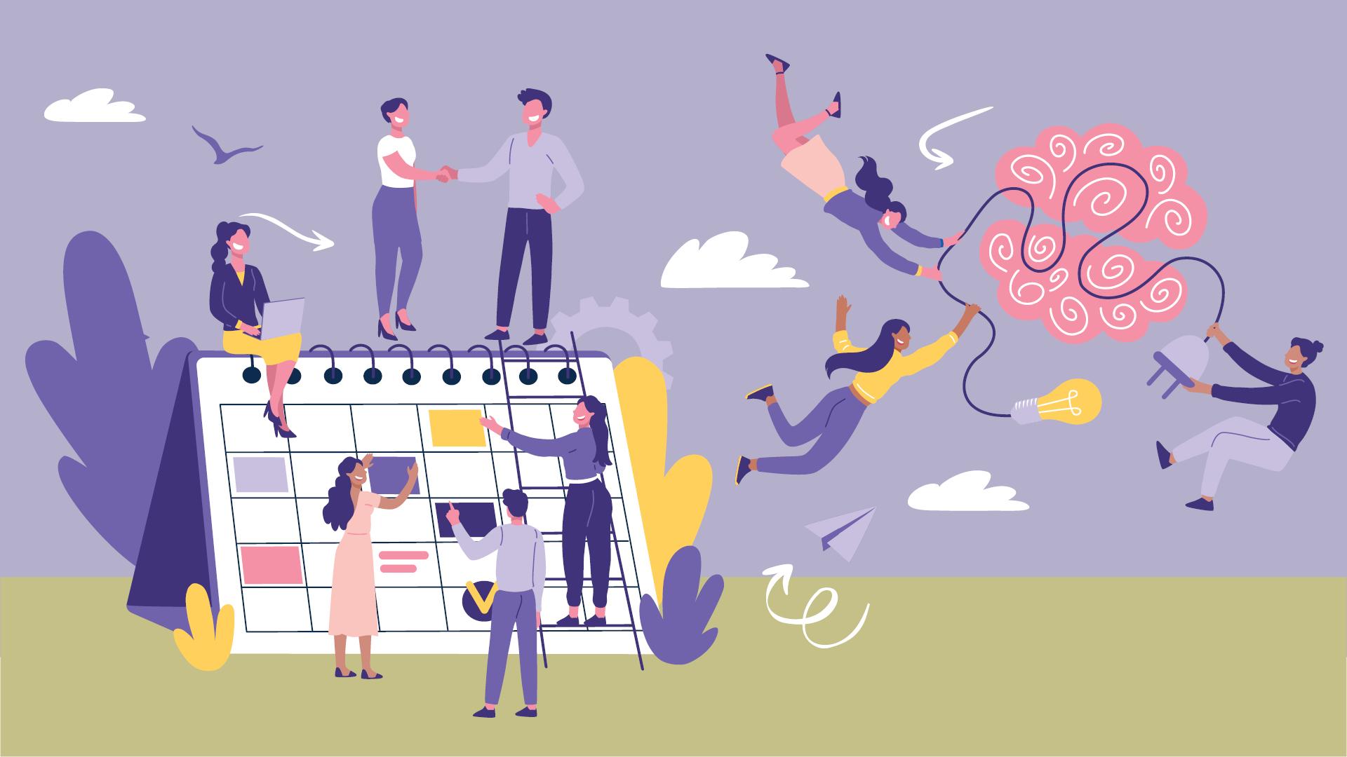 Illustration med personer i en kreativ miljö
