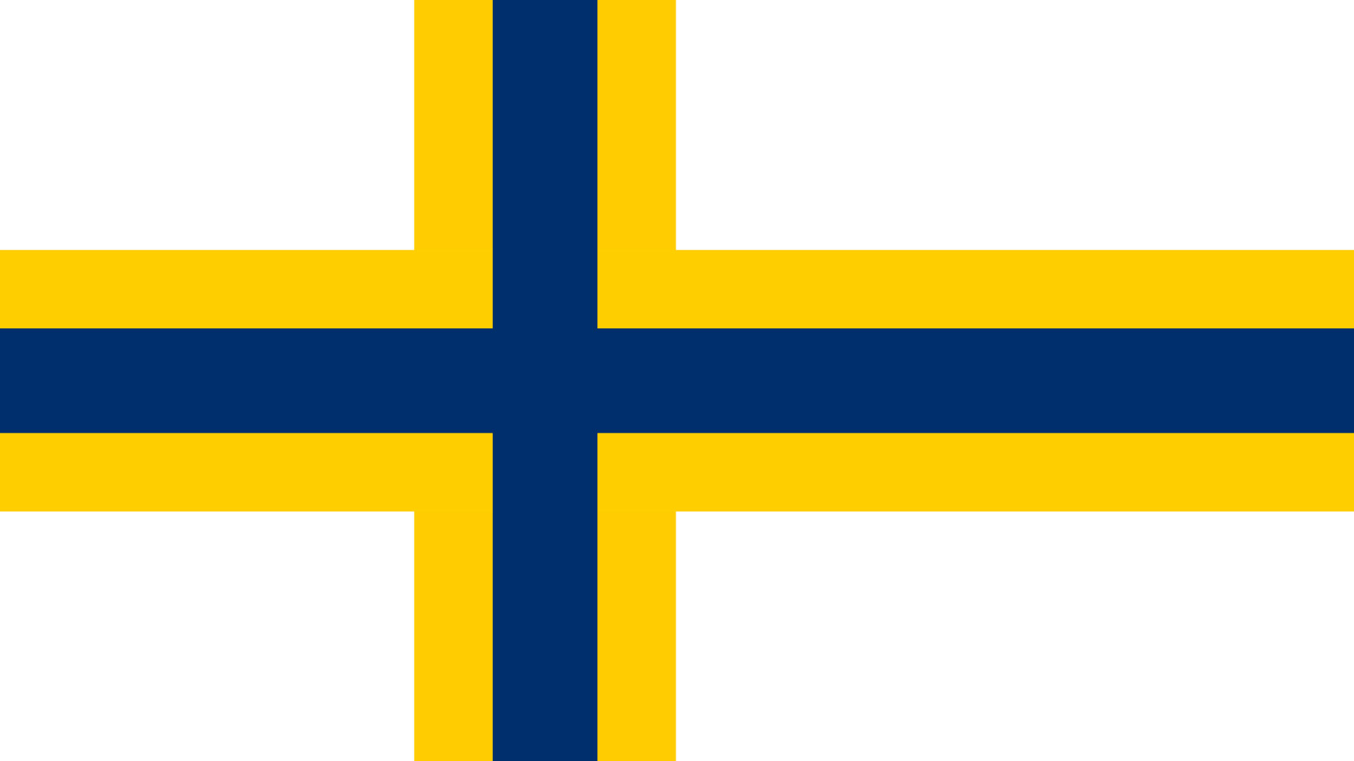 Sverigefinska flaggan, ett blått kors med gula ytterlinjer på vit bakgrund.